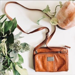 FOSSIL Brown Leather Crossbody Purse Wallet Bag